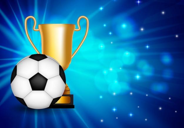 Vencedor parabéns com taça dourada e bola de futebol