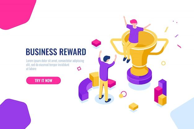Vencedor recompensa isométrica, sucesso nos negócios, copo de ouro, as pessoas estão felizes de colocar as mãos para cima