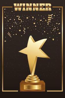 Vencedor troféu estrela dourada com palavra e confete