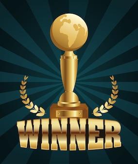 Vencedor troféu planeta terra dourado com coroa