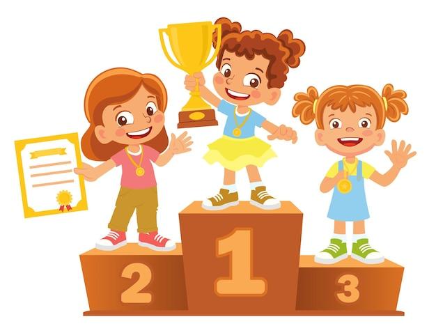 Vencedoras de meninas no pódio. pedestal de vencedor