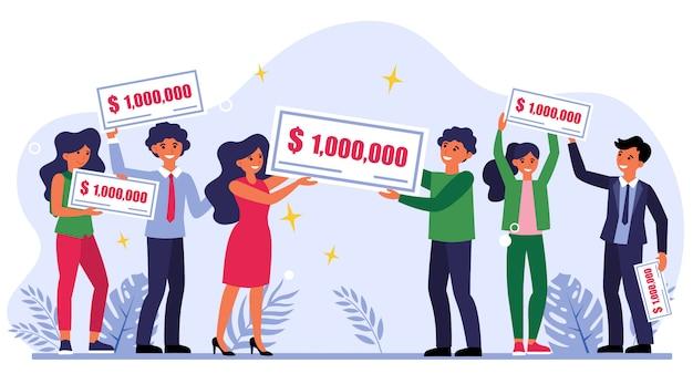 Vencedores da loteria segurando o cheque de um milhão de dólares