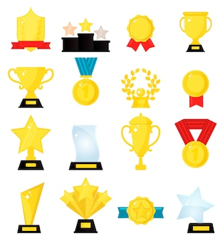 Vencedores de medalha de ouro prêmio lindo troféu dourado copos.