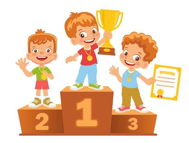 Vencedores de meninos no pódio. pedestal de vencedor