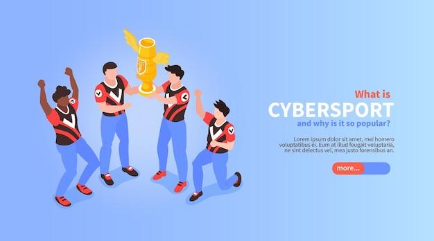 Vencedores do campeonato de esporte isométrico do cybersport segurando um troféu de ilustração