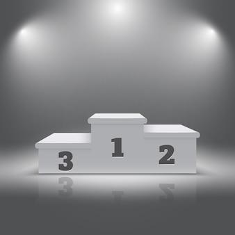 Vencedores do esporte realista iluminado pódio 3d