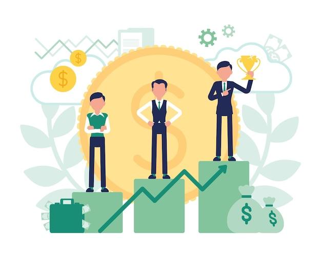 Vencedores no pedestal, sucesso nos negócios e recompensa