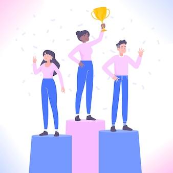 Vencedores no pódio