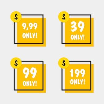 Venda 39 99 199 e 9,99 dólares oferecem apenas crachá. projeto geométrico de banners em estilo simples.