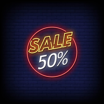 Venda 50 sinais de néon em vetor de texto de estilo