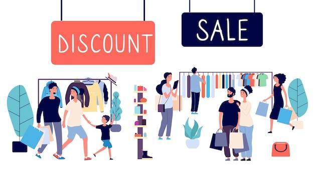 Venda aberta. pessoas de compras, shopping de desconto. conceito de vetor de venda. ilustração de compras com desconto e venda
