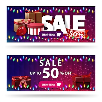Venda, até 50% de desconto, dois banners de desconto roxos com caixas de presente e textura poligonal