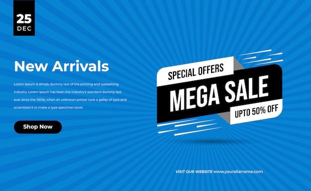 Venda azul 3d especial por tempo limitado com banner de desconto percentual para mega venda e etiqueta de preço da nova chegada