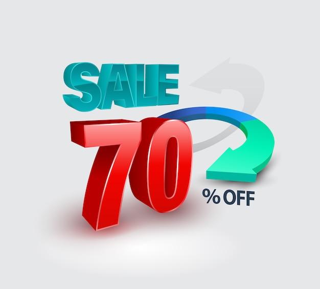 Venda banner 70 por cento do estilo 3d.