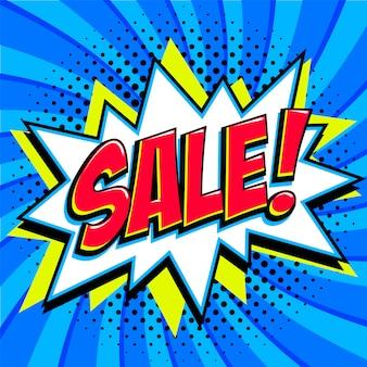 Venda. banner de promoção de venda em quadrinhos pop art.