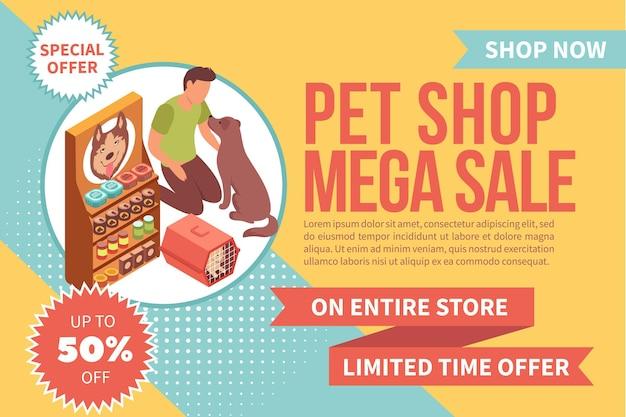 Venda banner pet shop isométrica com homem alimentando cachorro perto da prateleira de comida de cachorro com texto