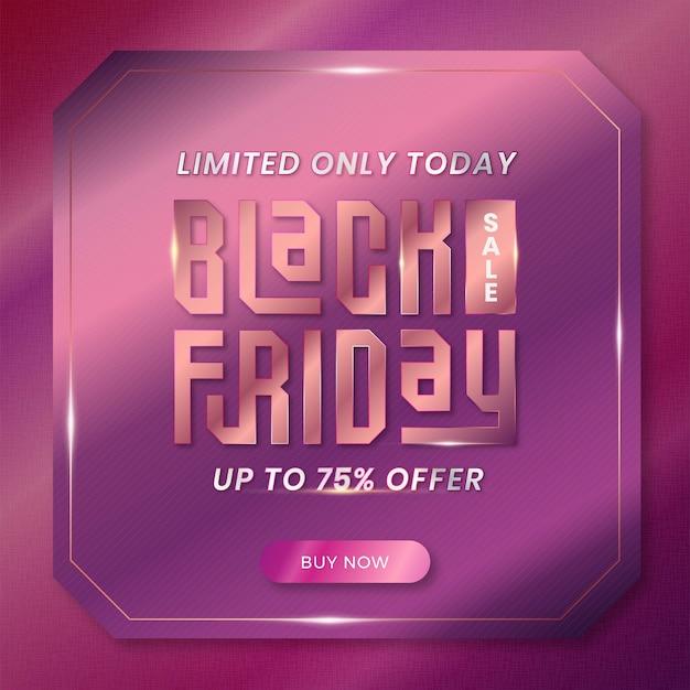 Venda black friday com conceito de cor gradiente metálico para base da moda e mercado de promoção de modelo de banner on-line