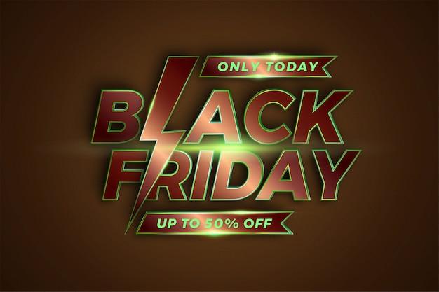 Venda black friday com efeito tema metálico bronze conceito cor verde. promoção de modelo de banner
