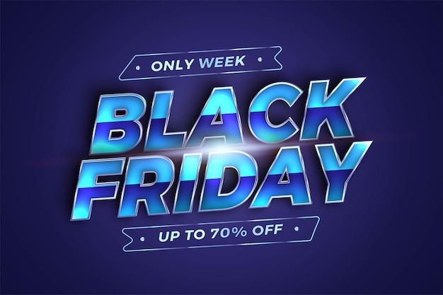 Venda black friday com tema de efeito prata metálico conceito de cor azul para base da moda e mercado de promoção de modelo de banner online