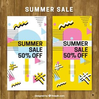 Venda brochura de verão em grande estilo memphis