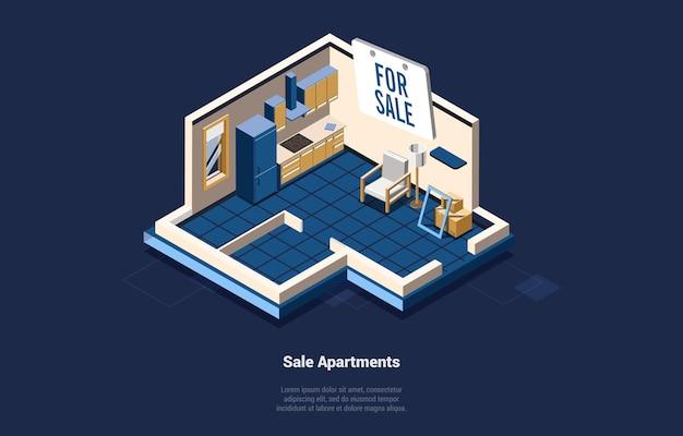 Venda casa ou apartamentos conceito ilustração em vetor em fundo escuro, texto. composição 3d no estilo dos desenhos animados. arte isométrica da sala de estar e da cozinha. negócio imobiliário, ideias planas em movimento.