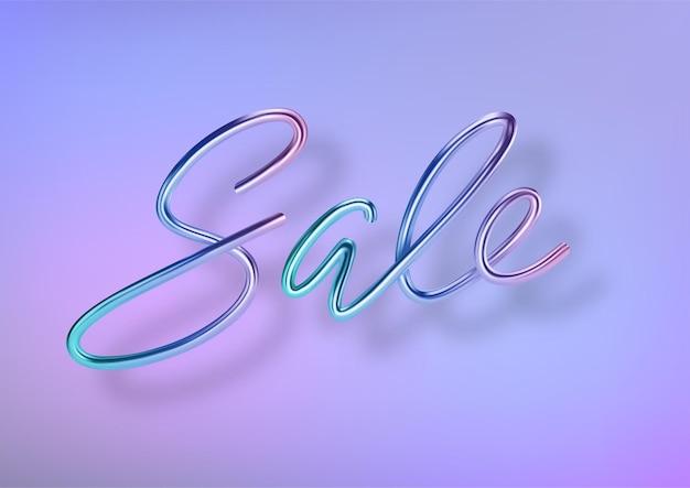 Venda colorida 3d realista. letras de cor metálica para design de banner. modelo de produtos, publicidade, banners, folhetos, certificados e cartões postais.