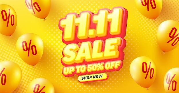Venda com 50% de desconto no design de pôster ou folheto para varejo, compras ou promoção em estilo amarelo e vermelho