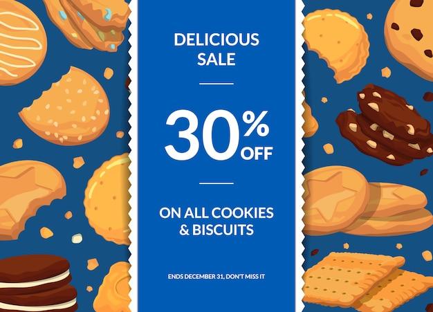 Venda com biscoitos de desenhos animados, fita vertical e lugar para texto