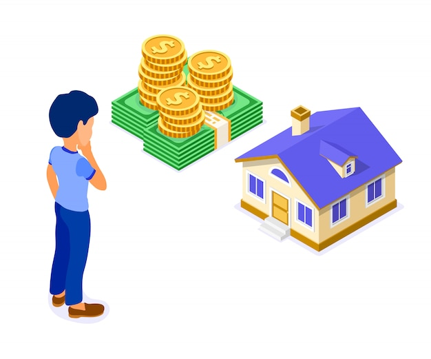 Venda compra aluguel hipoteca casa isométrica