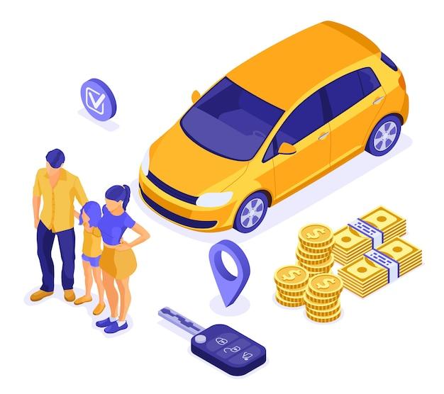 Venda, compra, conceito isométrico de aluguel de carro para pouso, publicidade com carro, chave, família com criança.