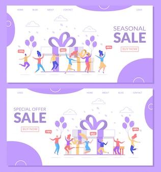 Venda, compras online oferta especial ilustração site página banner conjunto de desembarque.