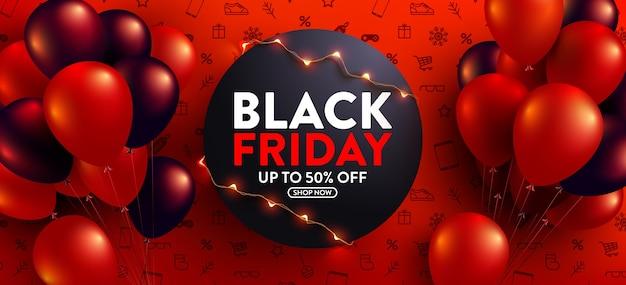 Venda da black friday com 50% de desconto em pôster com balões vermelhos e pretos para varejo