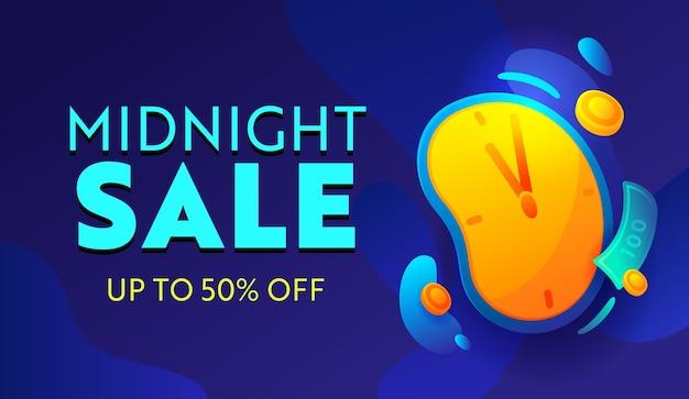 Venda da meia-noite, oferta especial banner de publicidade com tipografia em fundo azul com despertador. design para compras com desconto. anúncio promocional de mídia social, pôster, folheto ou cartão. ilustração vetorial