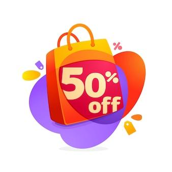 Venda de 50% com ícone de sacola de compras e etiqueta de venda.