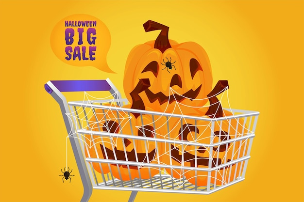 Venda de abóbora de halloween com 50% de desconto no conceito de banner e ilustração vetorial de fundo