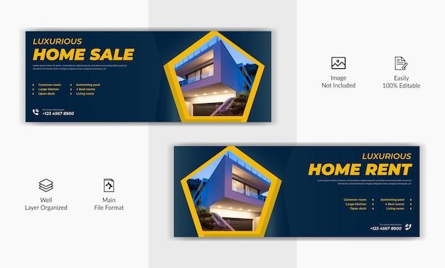Venda de aluguel de casa imobiliária cronograma da página de capa do facebook