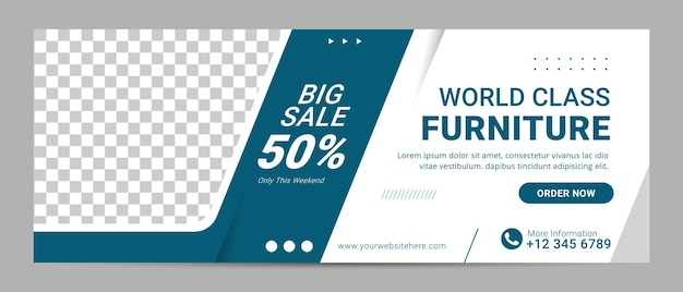 Venda de banner de modelo de capa do facebook de móveis para anúncio de interior de casa