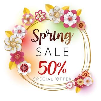Venda de banner de primavera. com folha e design de flores coloridas.