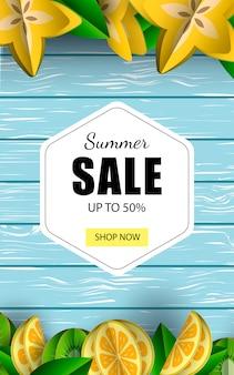 Venda de banner de venda de verão até 50% de desconto