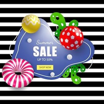 Venda de banner de verão com bolas 3d