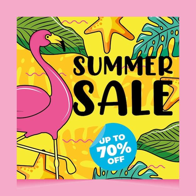 Venda de banner de verão de descontos com flamingo e folhas tropicais