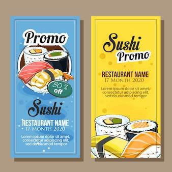 Venda de banner do tema de sushi em estilo desenhado a mão