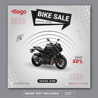 Venda de bicicletas nas redes sociais, no post do instagram, modelo de banner de motocicleta