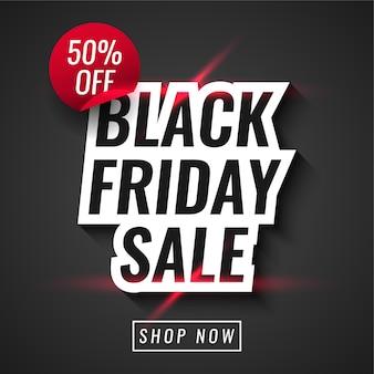 Venda de black friday com 50% de desconto no design do modelo