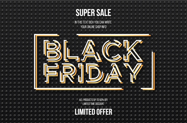 Venda de black friday com banner 3d