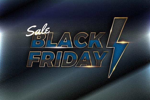 Venda de black friday com tema de efeito metal azul ouro conceito de cor para base da moda e mercado de promoção de modelo de banner online
