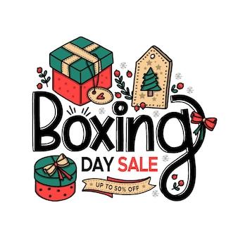 Venda de boxing day desenhada à mão