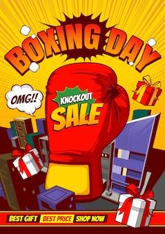 Venda de boxing day, design de poster em quadrinhos.