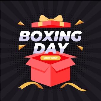 Venda de boxing day em design plano