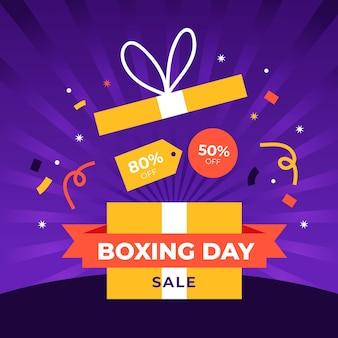 Venda de boxing day em design plano